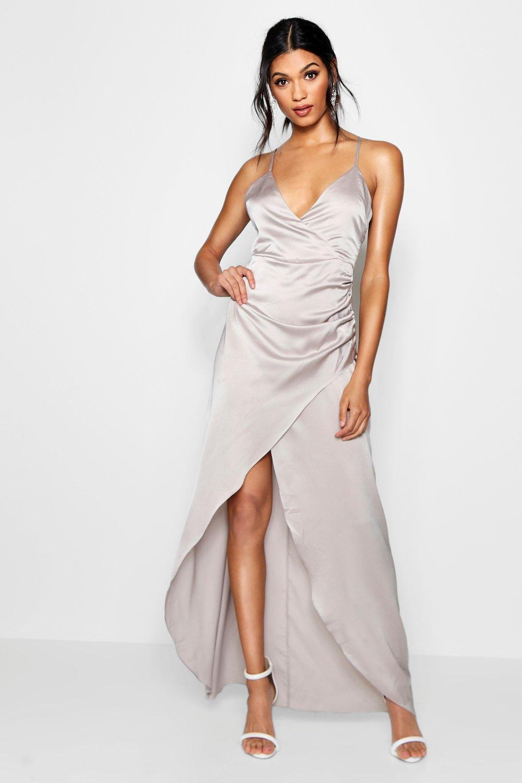 1a30cf2e884 Boohoo Boutique Satin Wrap Maxi Dress in Metallic - Lyst