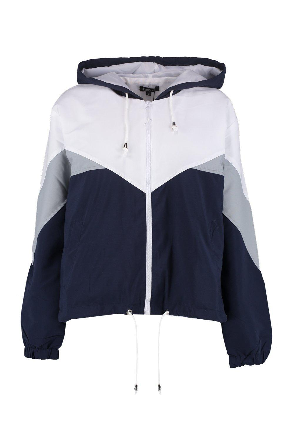 Boohoo Hooded Panelled Windbreaker in Blue - Lyst dd28639865