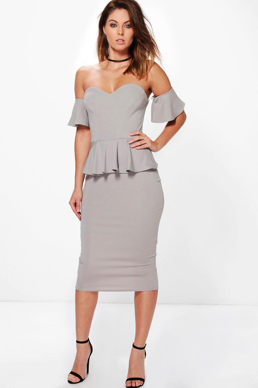 1f4850896dc1 Boohoo Eva Off Shoulder Frill Detail Peplum Midi Dress in Gray - Lyst
