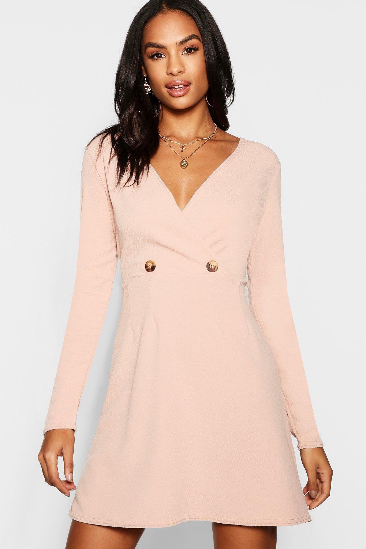 Boohoo Tall Mock Horn Button Skater Dress in Pink - Lyst d7235ac51