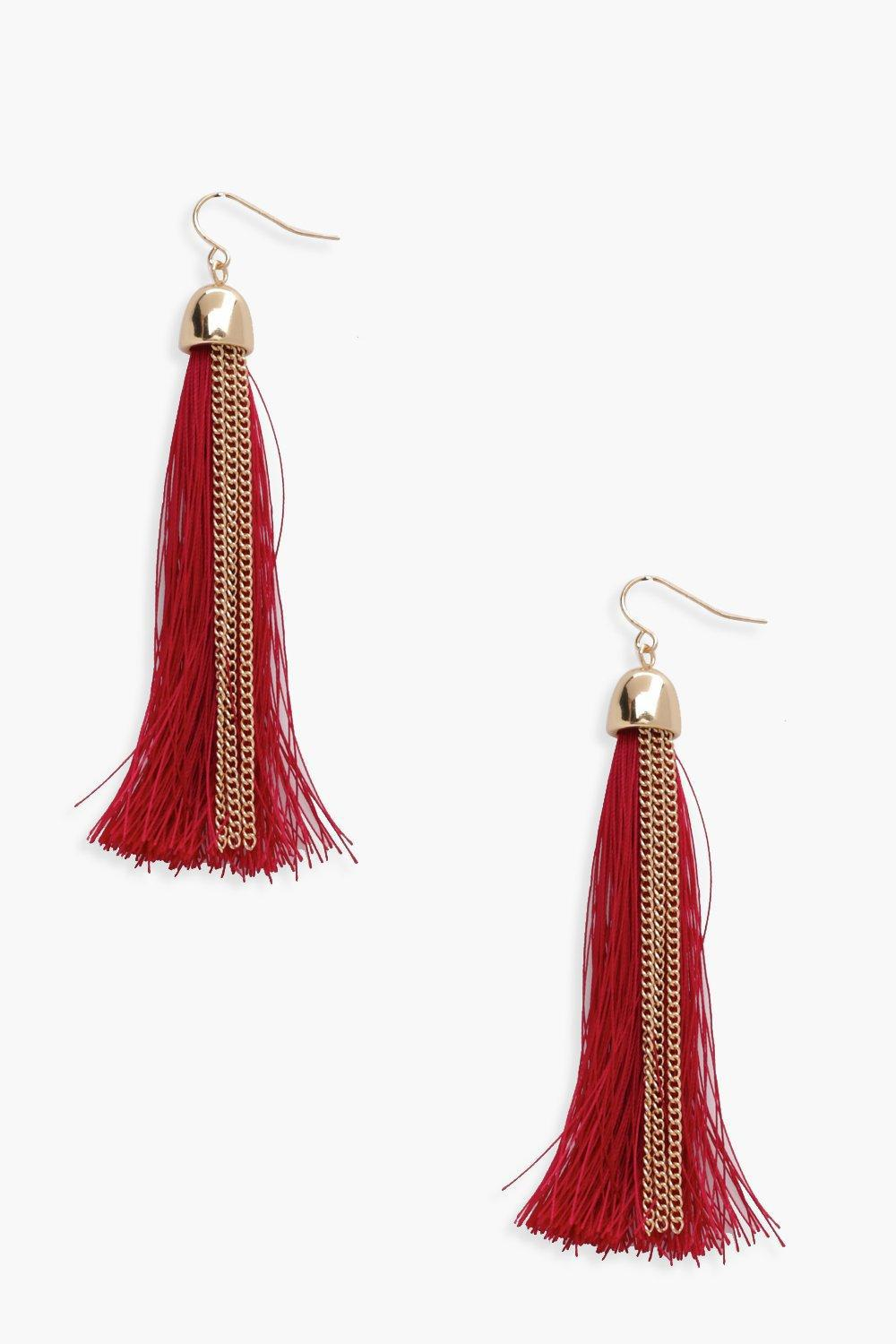 9783942fd3b Lyst - Boohoo Sophie Tassel Earrings in Red