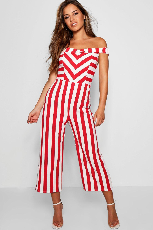 45435e63ab3 Lyst - Boohoo Petite Bardot Stripe Culotte Jumpsuit in Red