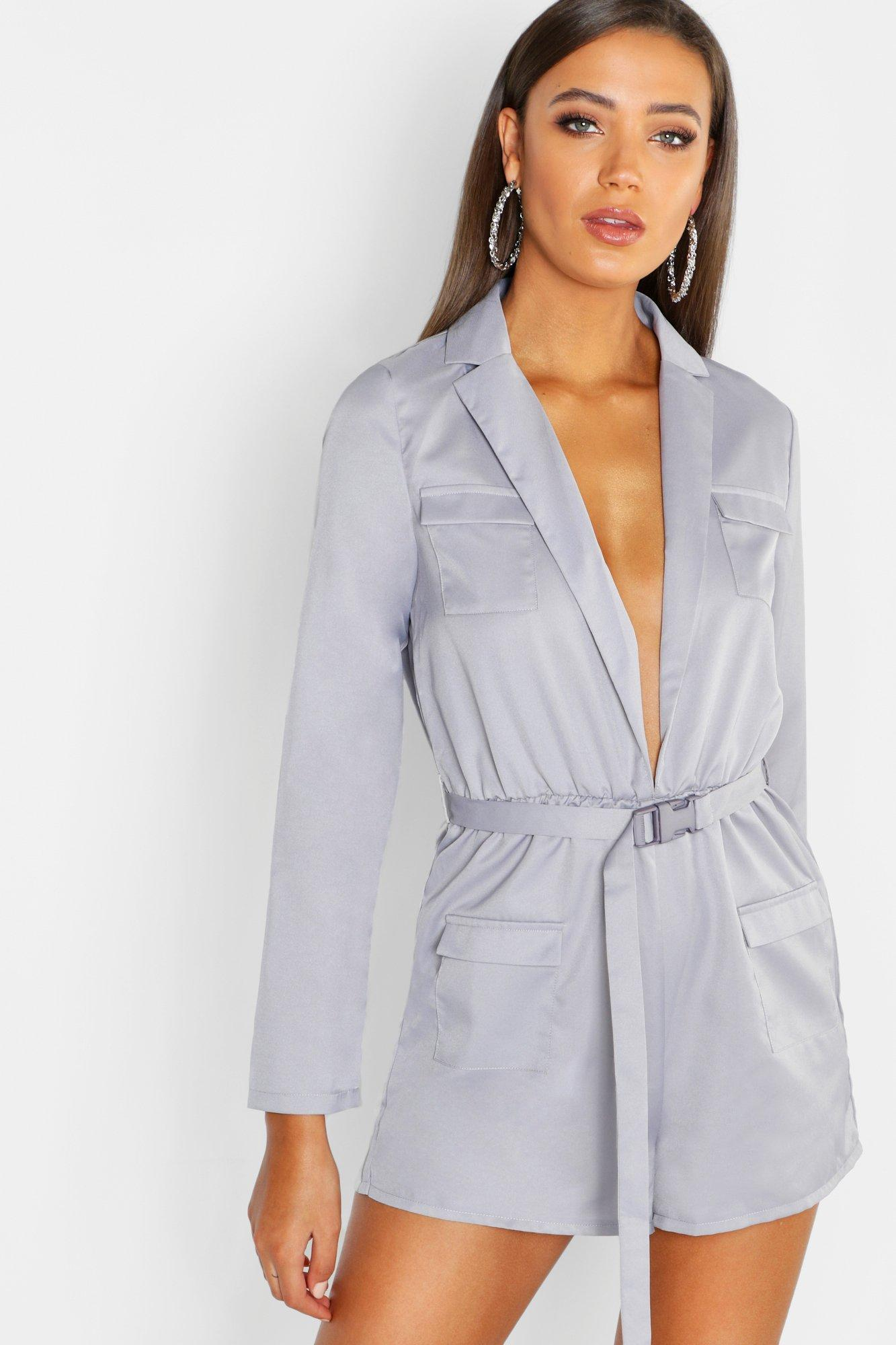 6833b94f7c Boohoo Tall Utility Style Belted Playsuit in Gray - Lyst