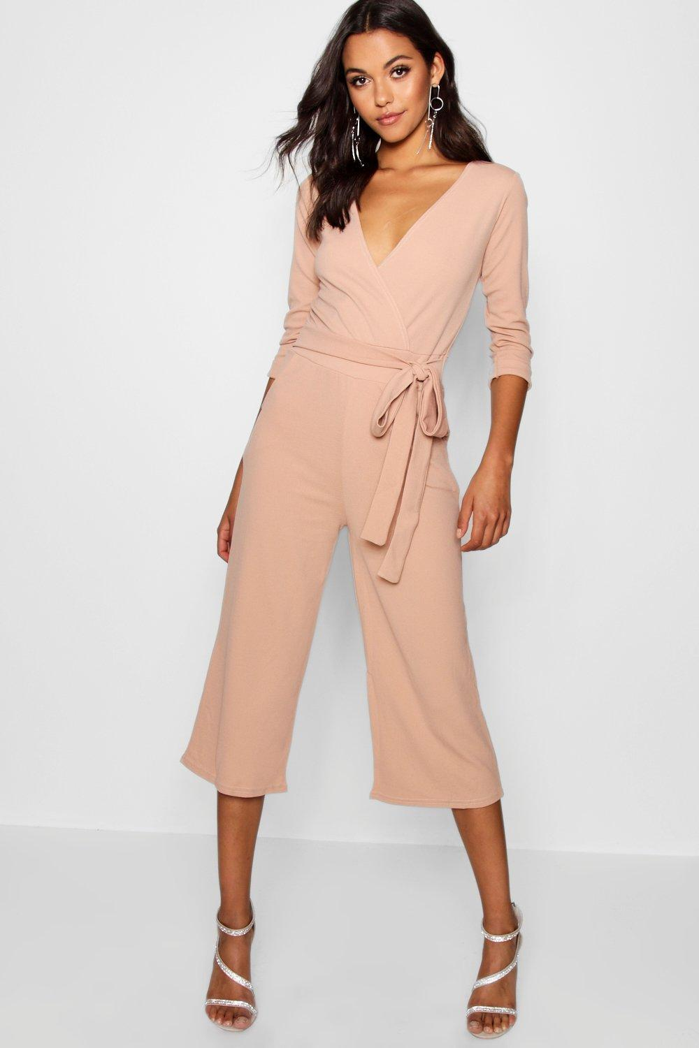 bdfcd253b5f Boohoo Roll Sleeve Relaxed Culotte Jumpsuit in Pink - Lyst