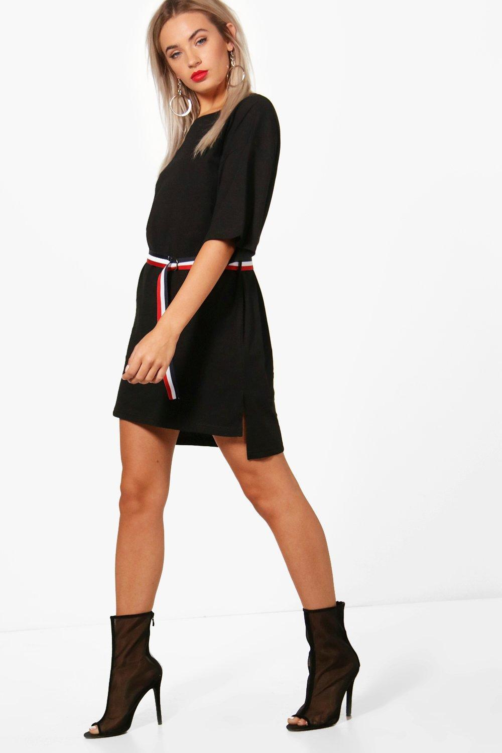 0ef01d46821 Boohoo Holly Sports Tape Belted T-shirt Dress in Black - Lyst