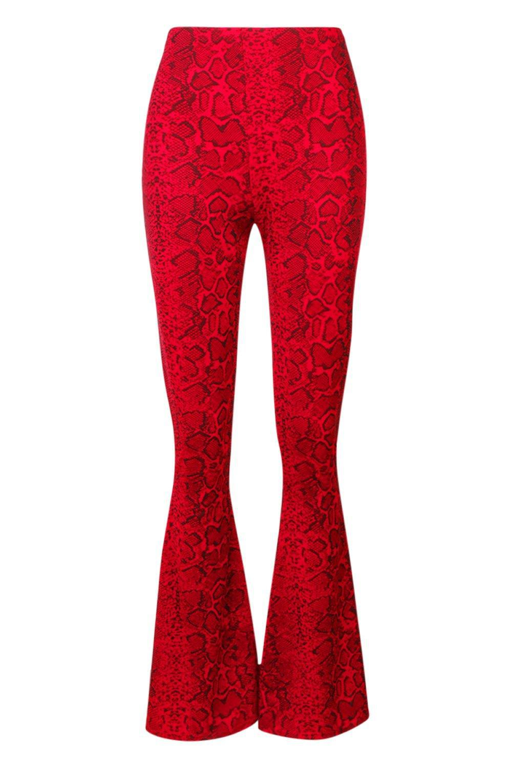 fefb1df51dcef Boohoo Snake Print Flare Trouser in Red - Lyst