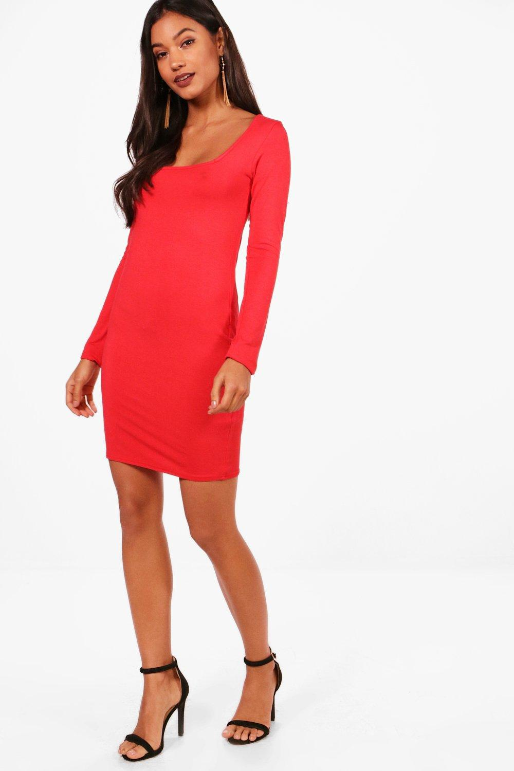 5485a97073b Lyst - Boohoo Square Neck Long Sleeve Bodycon Dress in Red