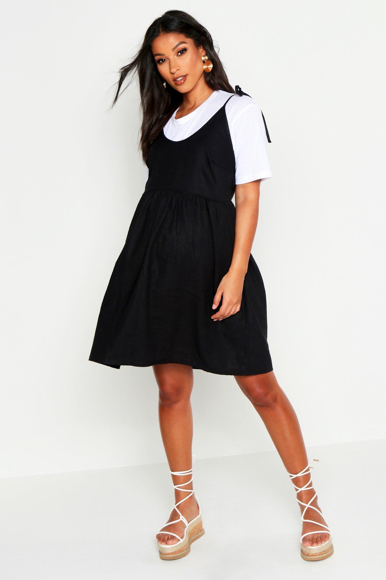 e0d06b78837 Boohoo. Women's Maternity Linen Tie Shoulder Smock Dress