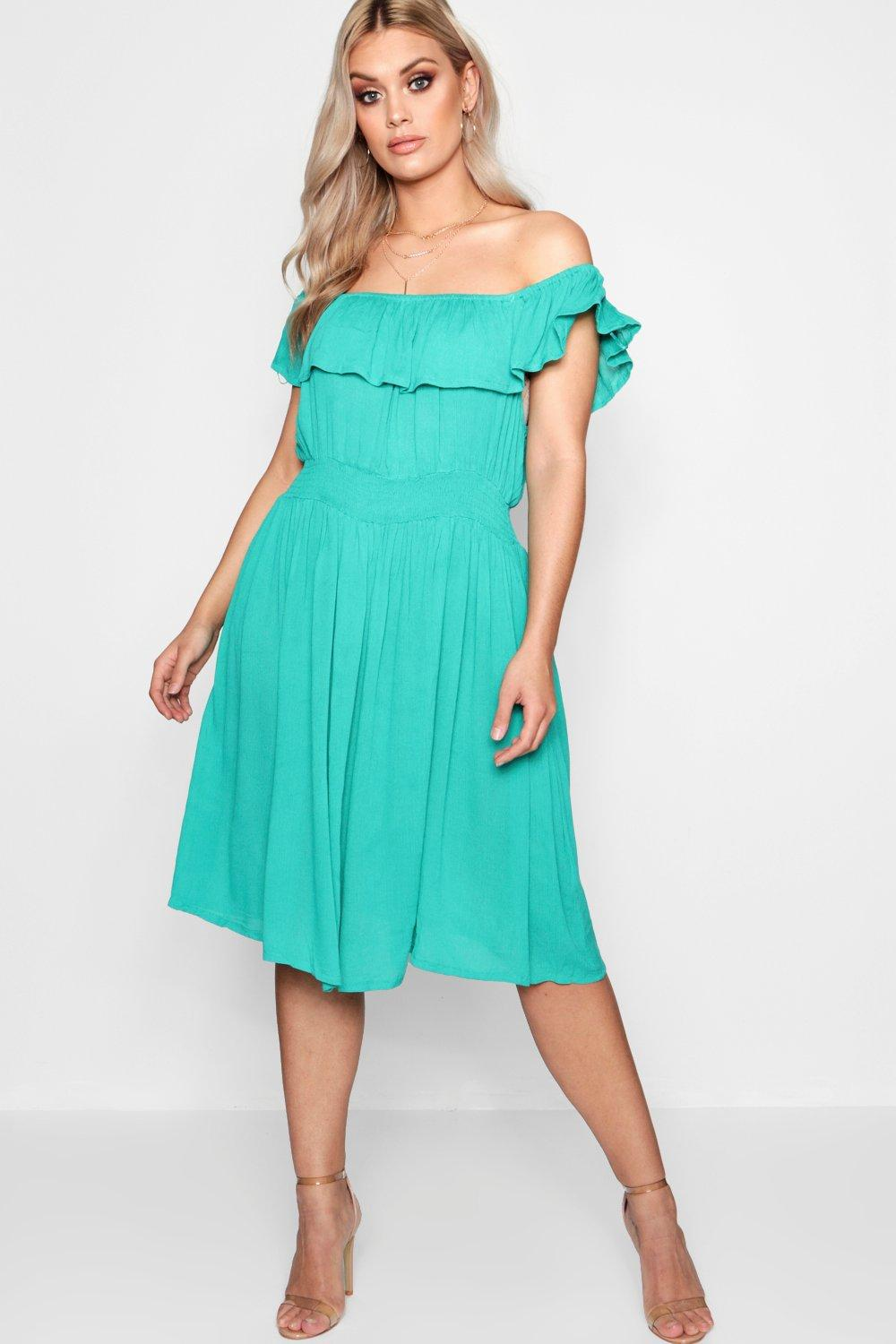Lyst - Boohoo Plus Laura Off The Shoulder Midi Dress in Green