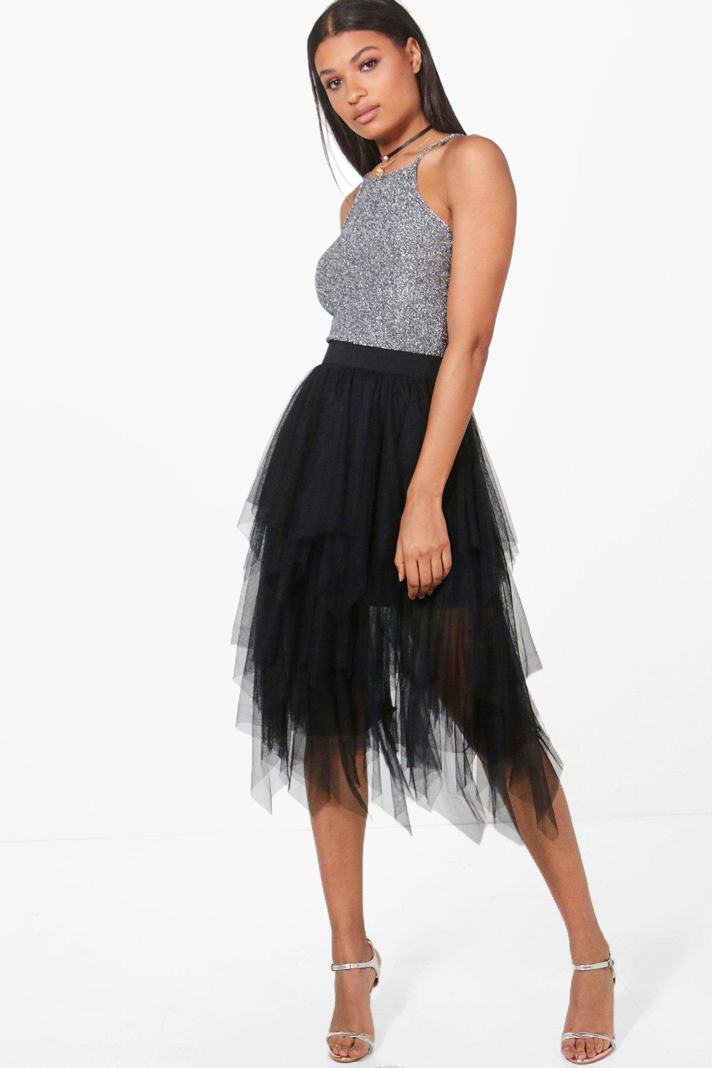 a7eabd447c Boohoo Boutique Nolita Layered Tulle Midi Skirt in Black - Lyst