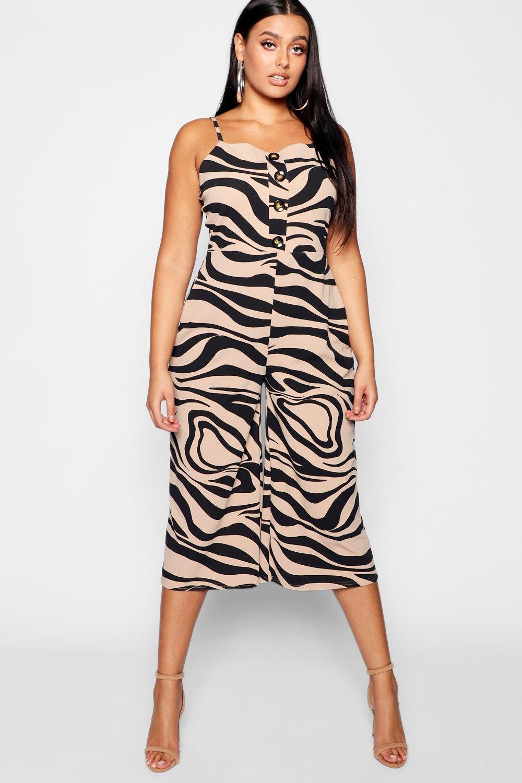 a67b185f3b Boohoo Plus Zebra Printed Horn Button Culotte Jumpsuit in Black - Lyst