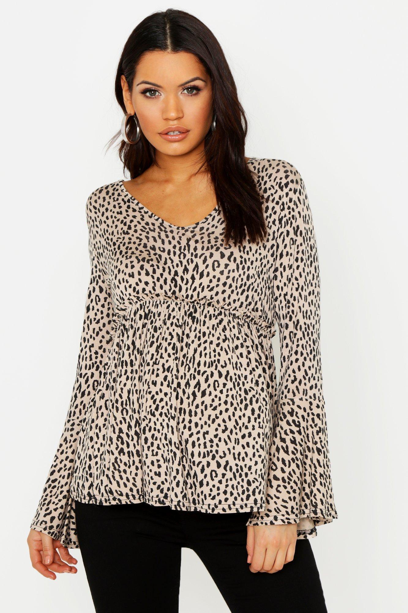 05caa839ab504 Boohoo. Women's Maternity Leopard Smock Wrap Top