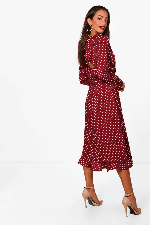 e2b0d3297b380 Boohoo - Red Polka Dot Wrap Front Ruffle Midi Tea Dress - Lyst. View  fullscreen