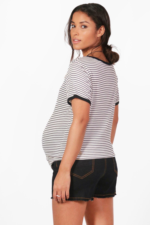 34c37b8dd24ed Boohoo Maternity Over The Bump Denim Short in Black - Lyst