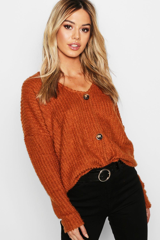 2cecbdaf3 Lyst - Boohoo Petite Fluffy Knit Oversized Cardigan in Orange