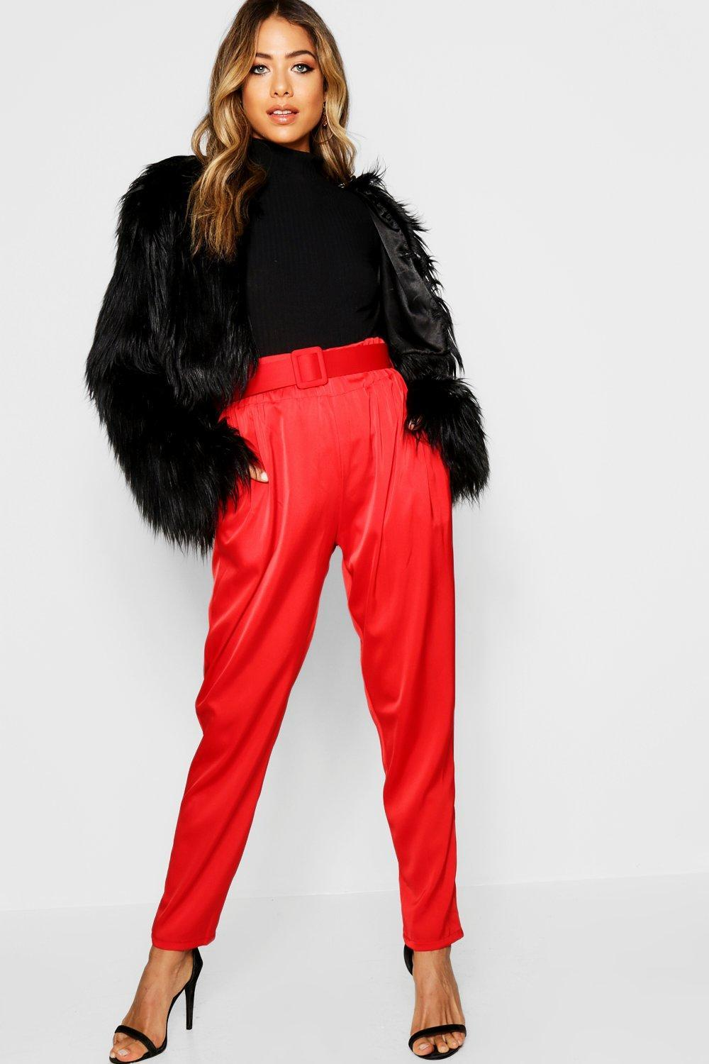 f84e0c1484d9 ... Satin Belted Pants - Lyst. Visit Boohoo. Tap to visit site