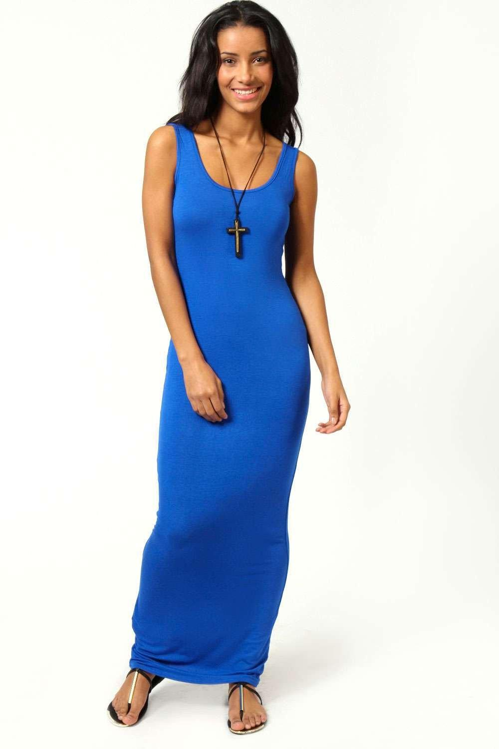 Boohoo Petite Rib Scoop Neck Maxi Dress Discounts For Sale Official Sale Online Outlet Newest Bzams