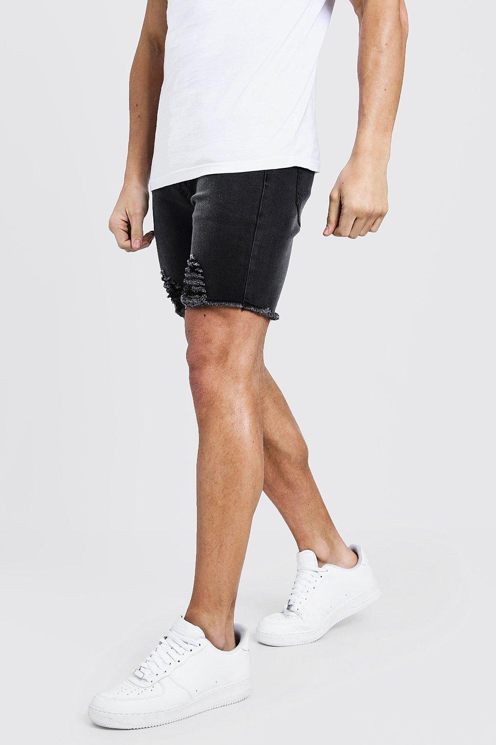 aa4d35808f Lyst - Boohoo Skinny Fit Denim Shorts With Distressed Raw Hem for Men