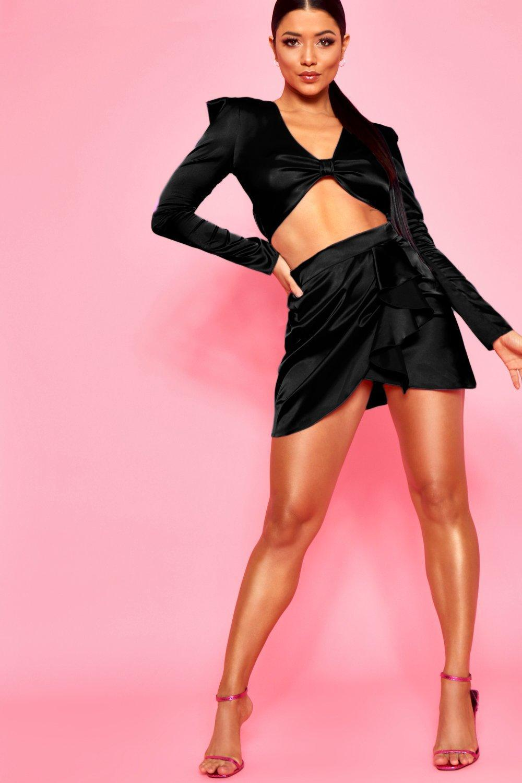 b2cc94519e1e Boohoo Wrap Front Top & Ruffle Detail Satin Skirt Co-ord in Black - Lyst