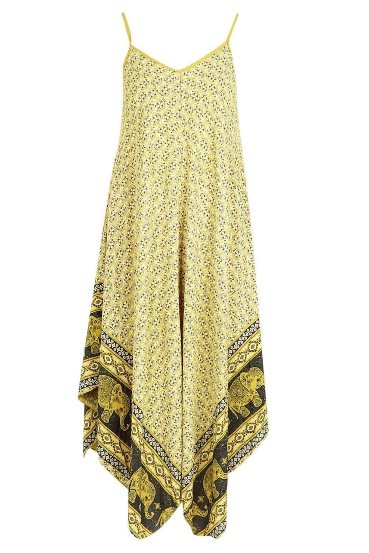 761f54aa6298 Boohoo Elephant Print Hanky Hem Dress in Yellow - Lyst