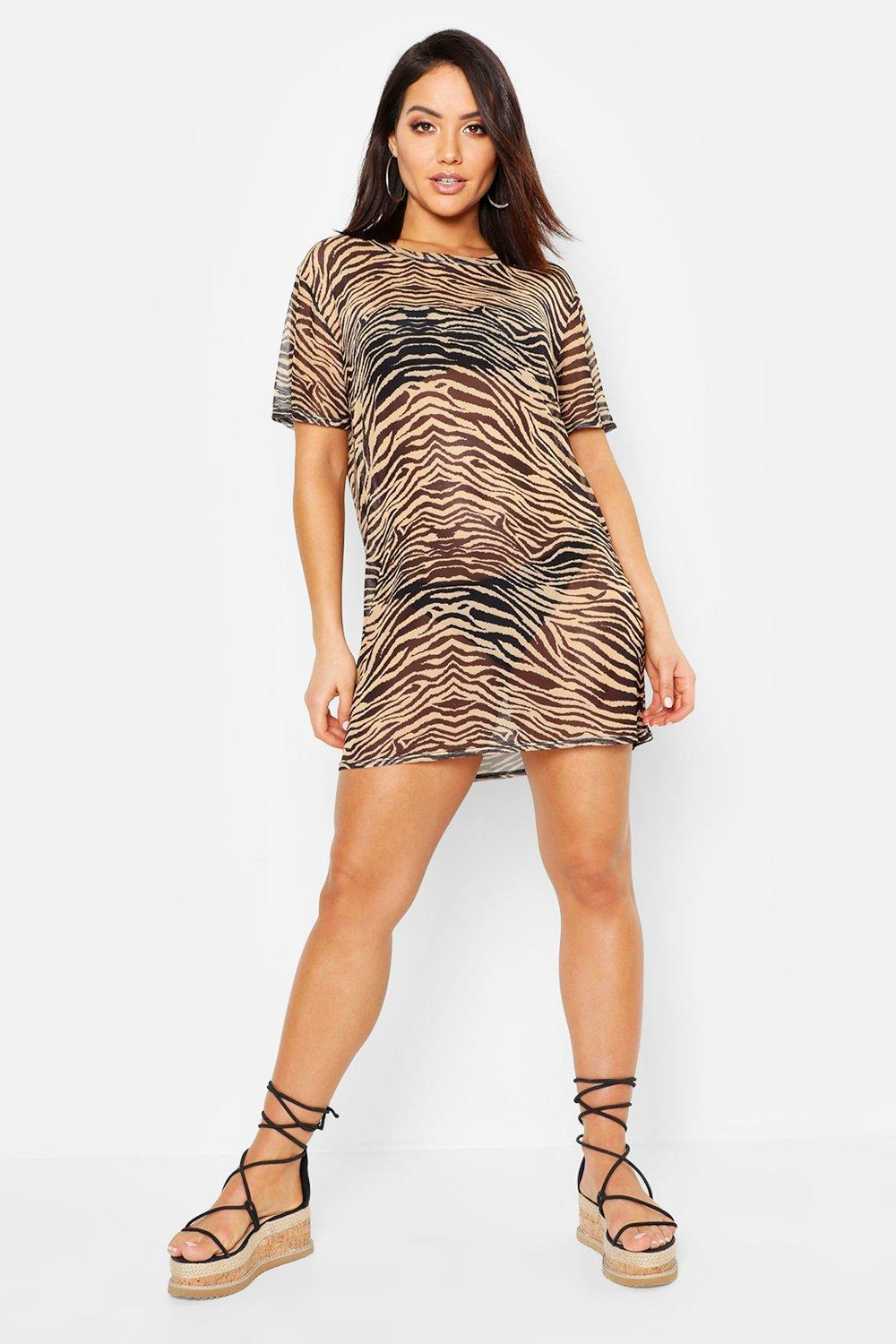 e7c03001a5 Lyst - Boohoo Tiger Mesh Beach Dress in Black