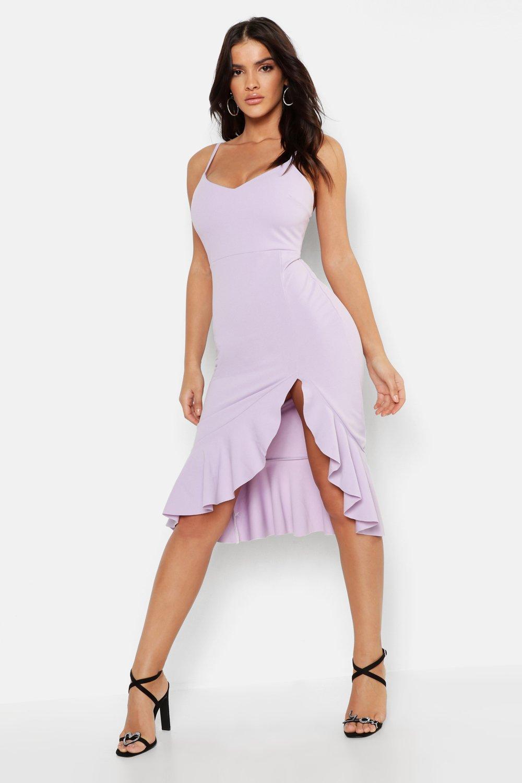 8f79ec4e6cca Boohoo Strappy Frill Hem Midi Dress in Purple - Lyst