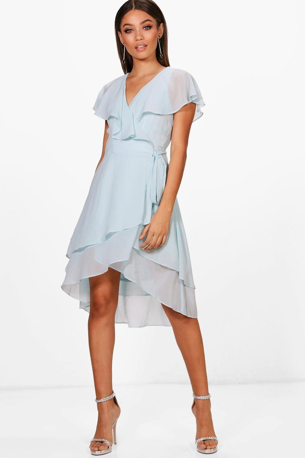 Boohoo Stripe Tie Wrap Midi Skater Dress New Arrival For Sale Latest Online Top Quality Cheap Online Cheap Original 1crSpfy