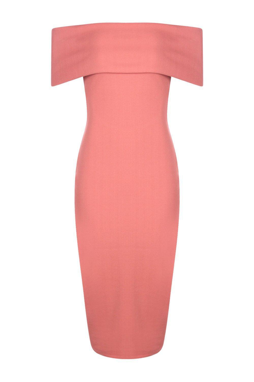 0f90aae9d6b3f Boohoo Oversized Bardot Open Back Midi Dress in Pink - Lyst
