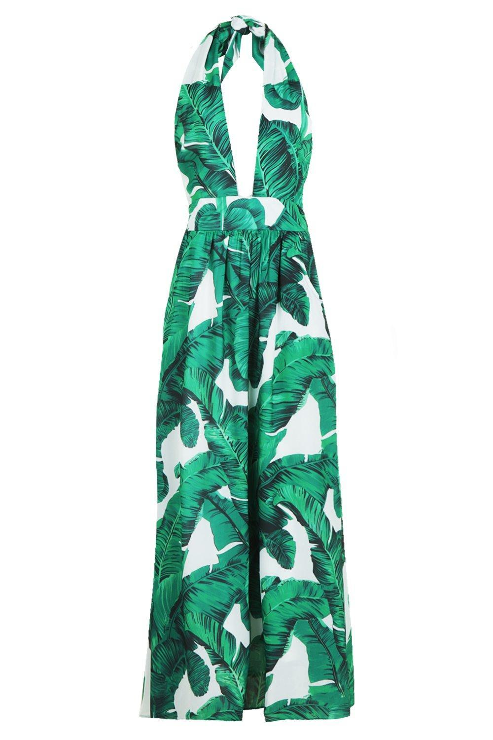 10589a6fd91b ... Maggie Palm Print Plunge Halterneck Maxi Dress - Lyst. Visit Boohoo.  Tap to visit site