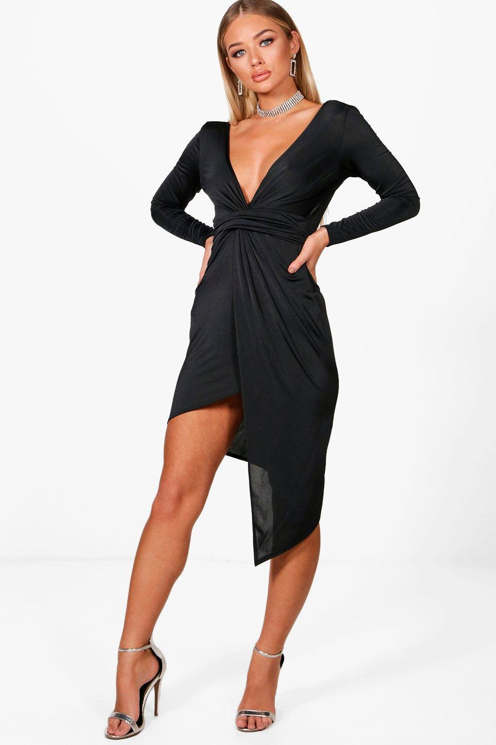 10e9d71562d4 Boohoo - Black Slinky Asymmetric Wrap Midi Dress - Lyst. View fullscreen