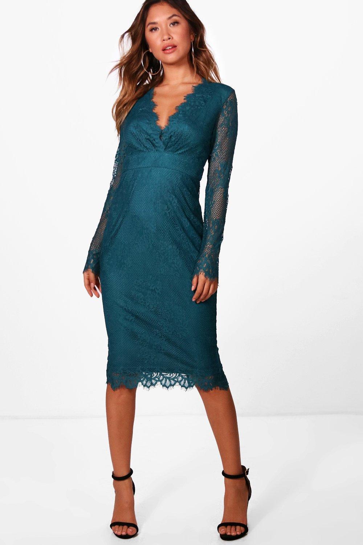 Lyst - Boohoo Boutique Eyelash Lace Midi Dress in Blue e0a2e2f0d