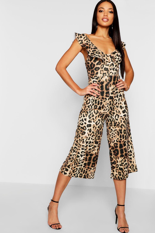 cf5f2b31357 Boohoo Leopard Print Ruffle Jumpsuit in Natural - Lyst