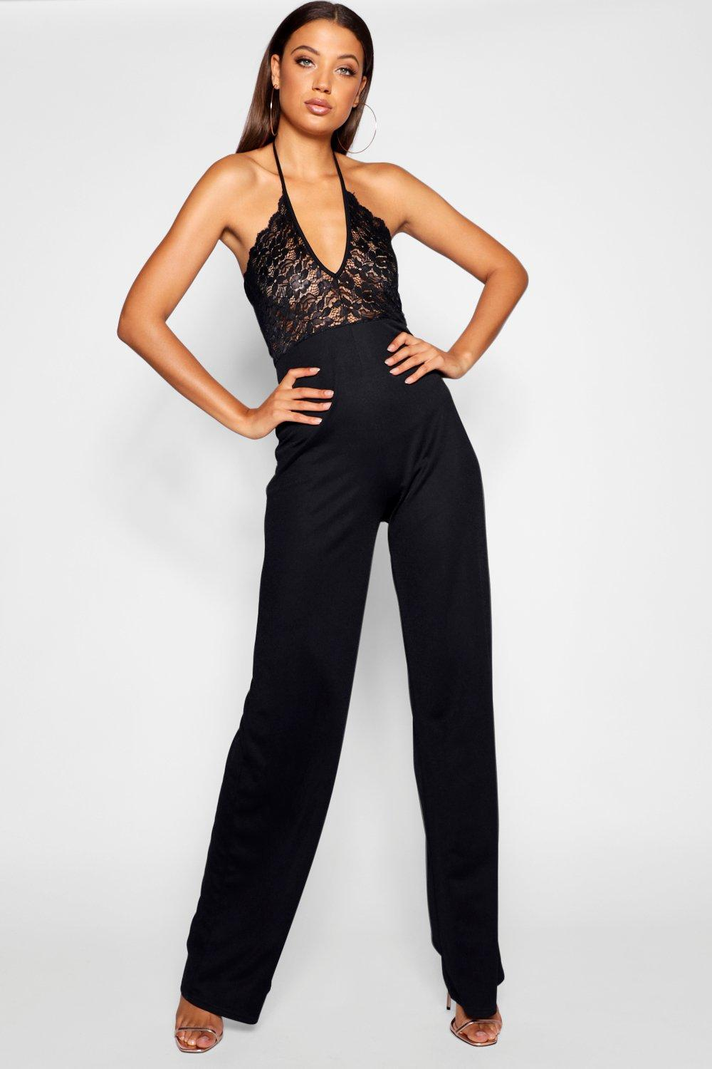 bfe7f7bf687 Boohoo Lace Plunge 2 In 1 Halter Neck Jumpsuit in Black - Lyst