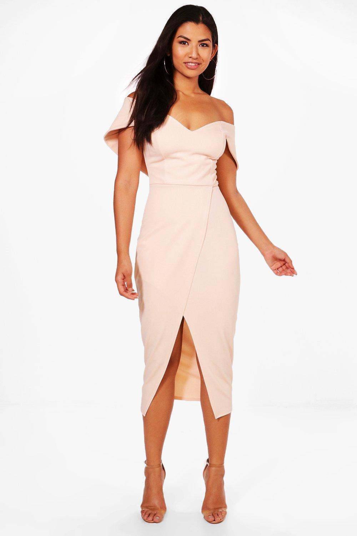 562b86e7024cf Lyst - Boohoo Off Shoulder Wrap Skirt Midi Dress in Pink