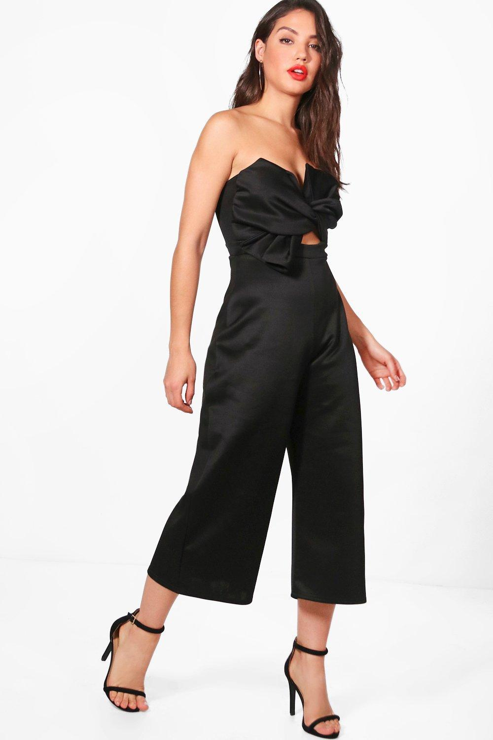 d3ddde0cbafd Boohoo Bandeau Bow Front Culotte Jumpsuit in Black - Lyst