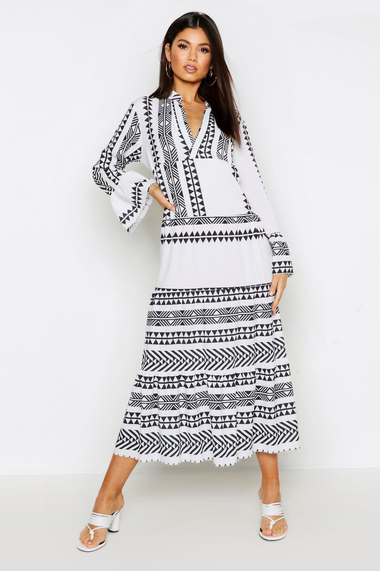 43be78d2c796 Lyst - Boohoo Aztec Smock Maxi Dress in White