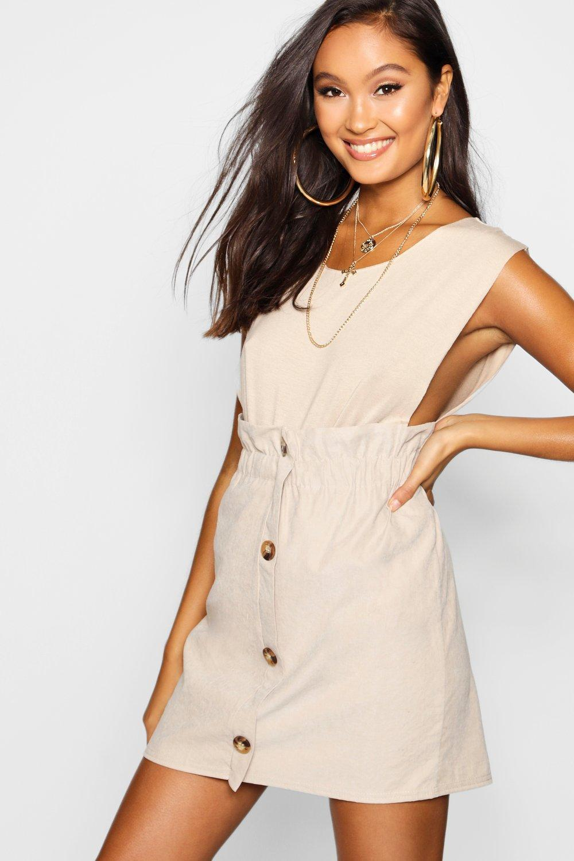 9a6f08332b Boohoo Woven Linen Button Through Mini Skirt in Natural - Lyst