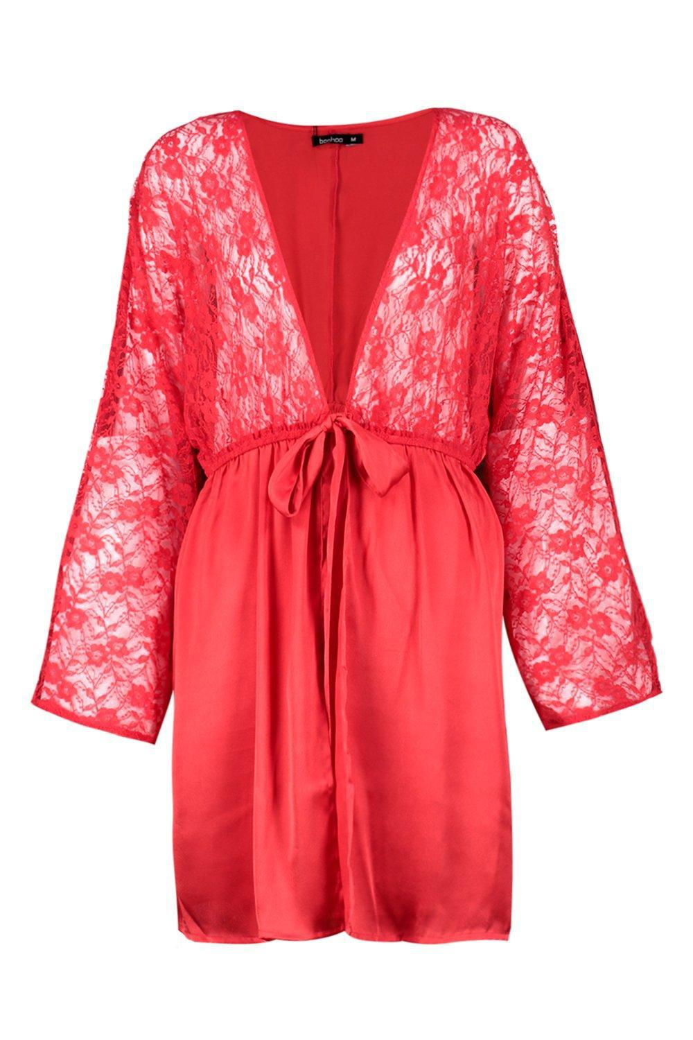 7ec0504956 Boohoo Summer Bridal Lace Short Satin Night Robe in Red - Lyst