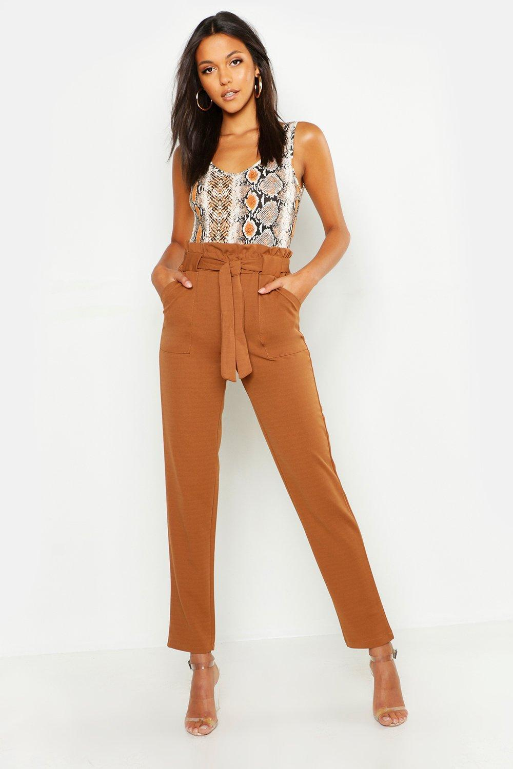 b37bd76170e0e Lyst - Boohoo Tall Paperbag Waist Belted Trouser in Brown