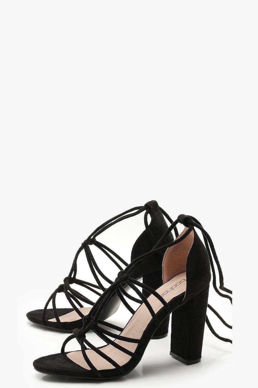 031bdc53c15 Lyst - Boohoo Block Heel Multi Strap Wrap Sandals in Black