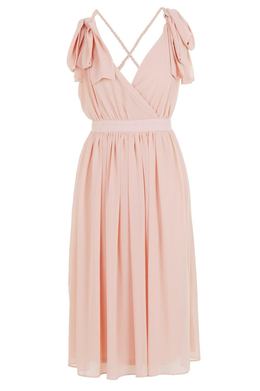 e4308b55c0 Boohoo - Pink Chiffon Pleated Back Midi Skater Dress - Lyst. View fullscreen