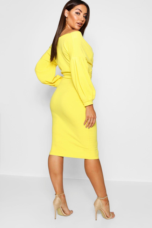 8ac2058db16b Boohoo - Yellow Off The Shoulder Wrap Midi Bodycon Dress - Lyst. View  fullscreen