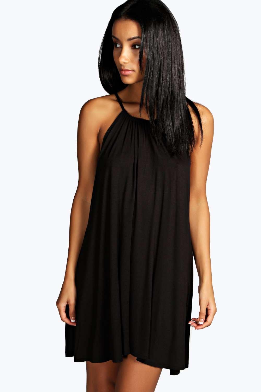 16b8099b774e Boohoo Tie Neck Swing Dress in Black - Lyst