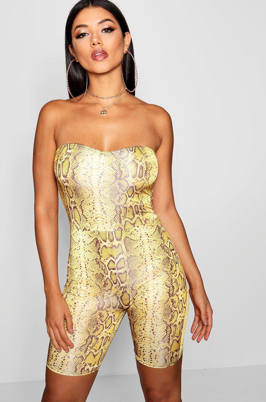 4244517cf3 Lyst - Boohoo Snake Print Bandeau Unitard in Yellow