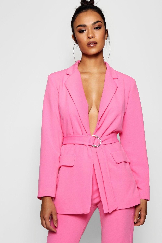 e6065bdcdc2ec Lyst - Boohoo D-ring Pocket Detail Longline Blazer in Pink