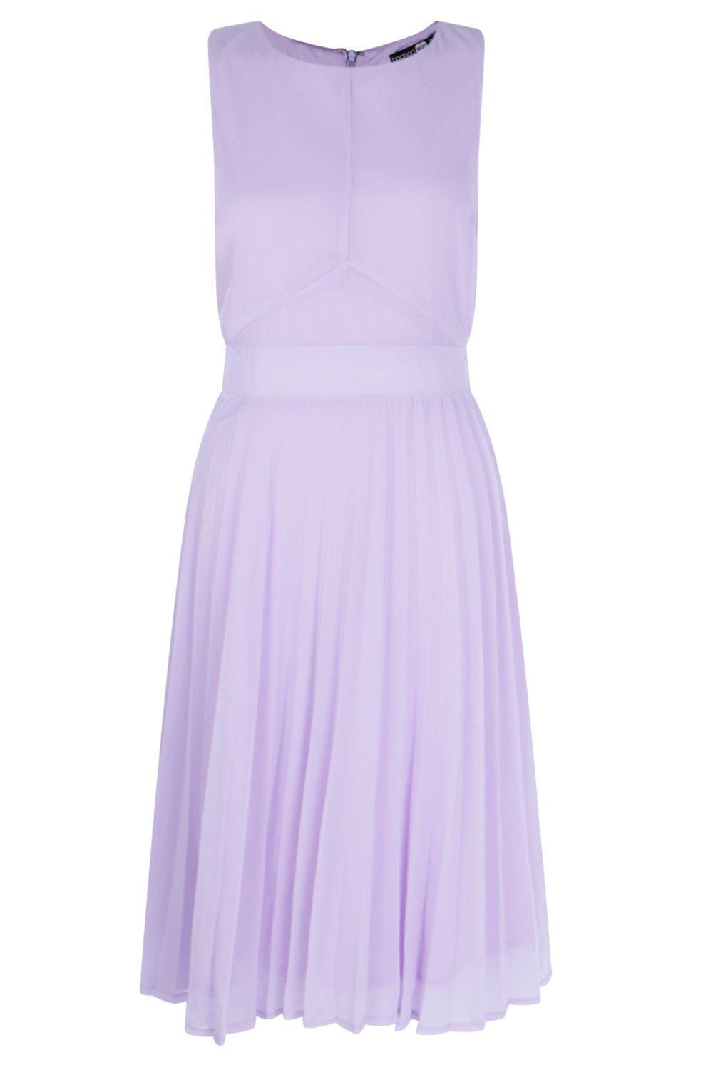 d9df4c6739 Lyst - Boohoo Chiffon Pleated Skirt Midi Skater Dress in Purple