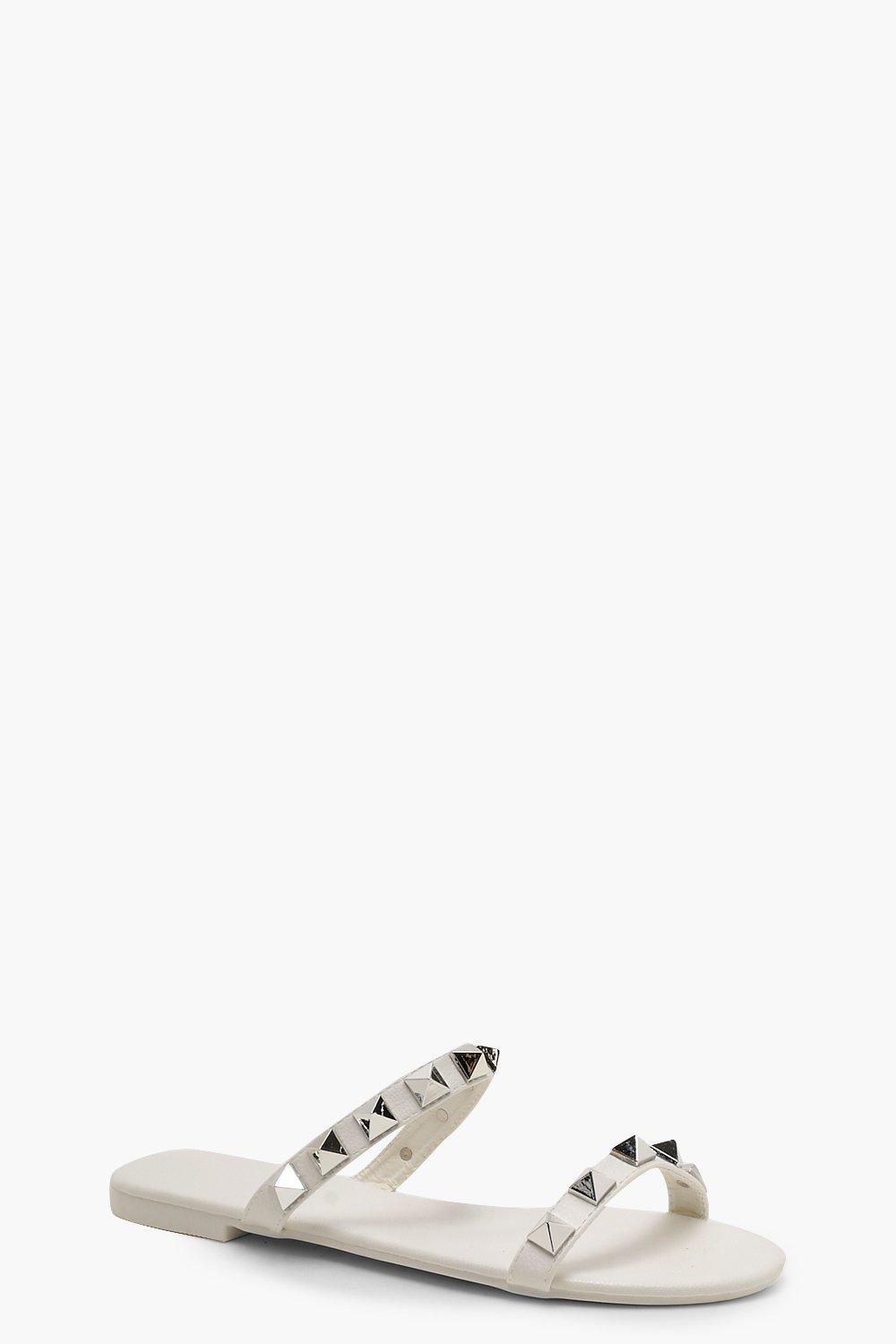 9e34f4993 Boohoo Studded Double Band Sliders in White - Lyst