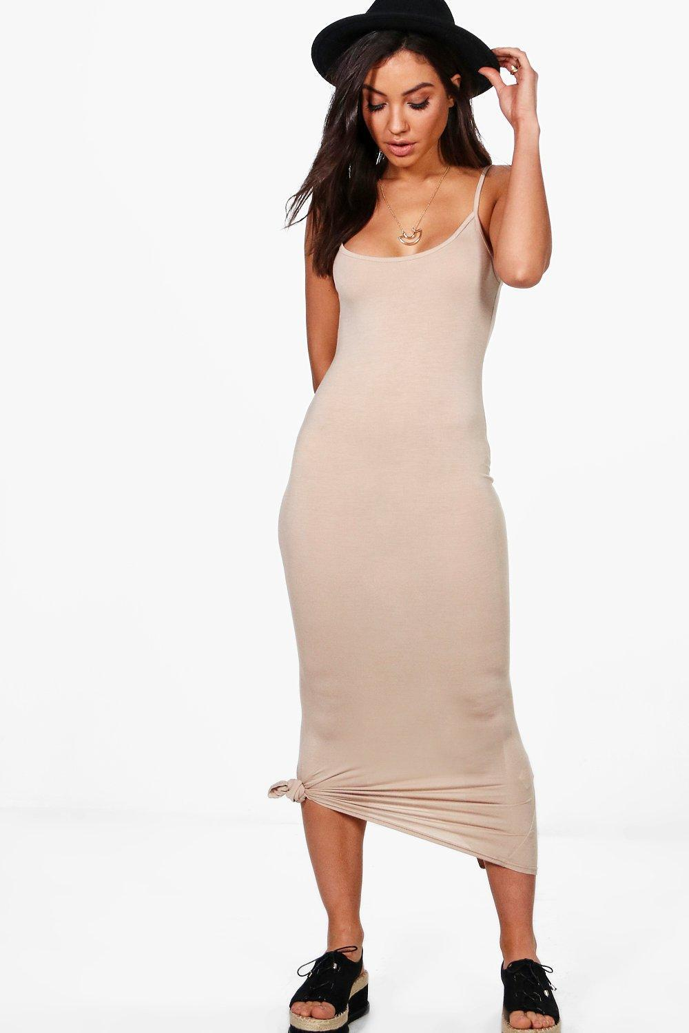 80f89c071270 Boohoo Amabel Strappy Cami Midaxi Dress in Natural - Lyst
