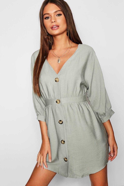 661fef895b Boohoo. Women s Button Front Linen Look Smock Dress