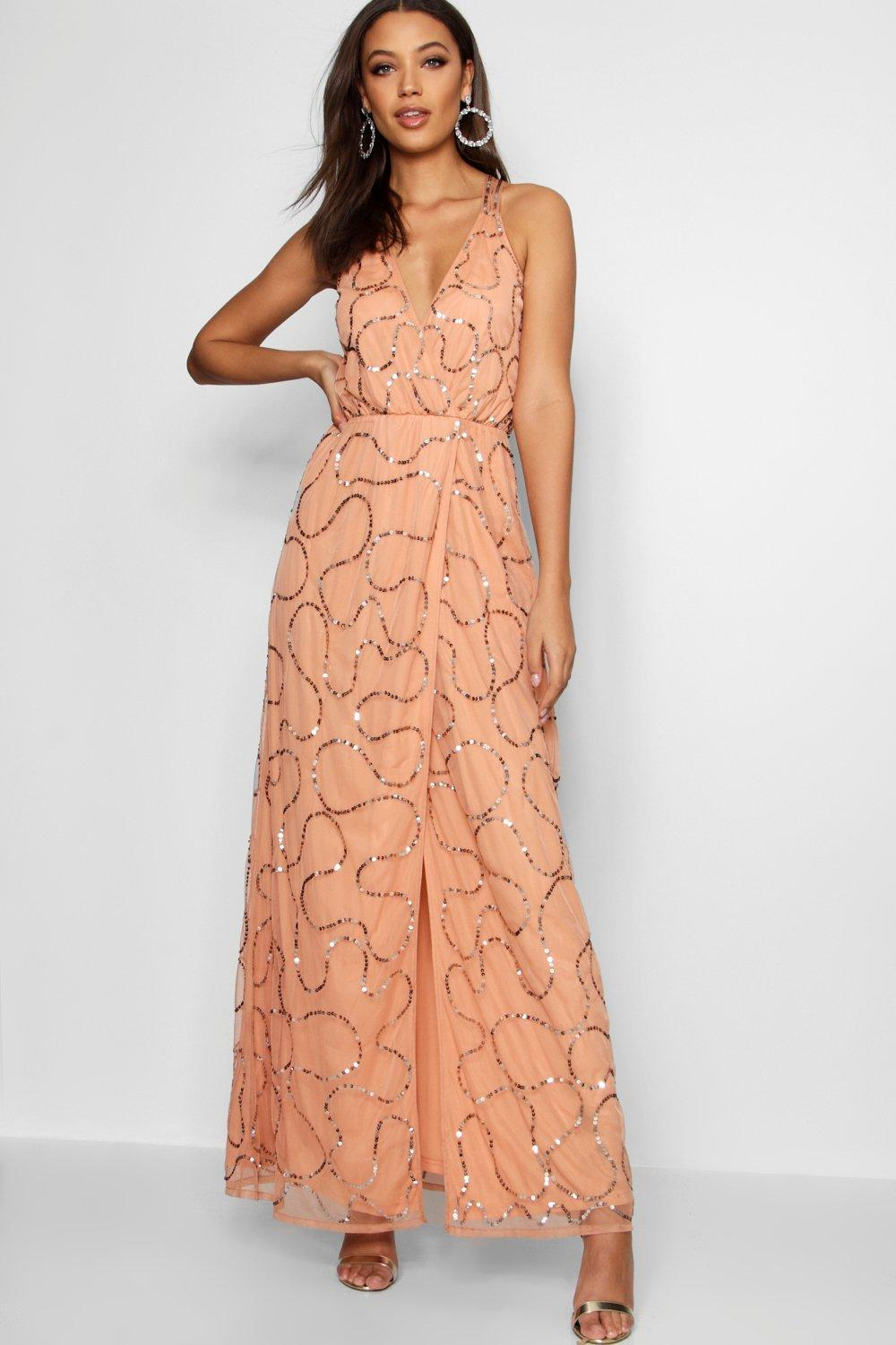 Exclusive Online The Cheapest Online Boohoo Tall Boutique Wrap Sequin Maxi Dress Na0dFkeBDl